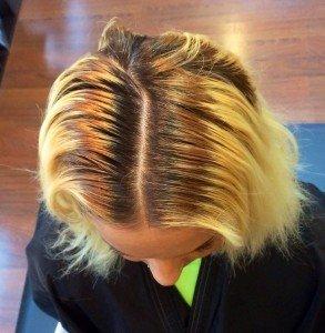 before hair color correction Gore hair salon Irmo Columbia SC