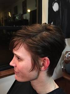 Jennifer after donating hair Locks of Love