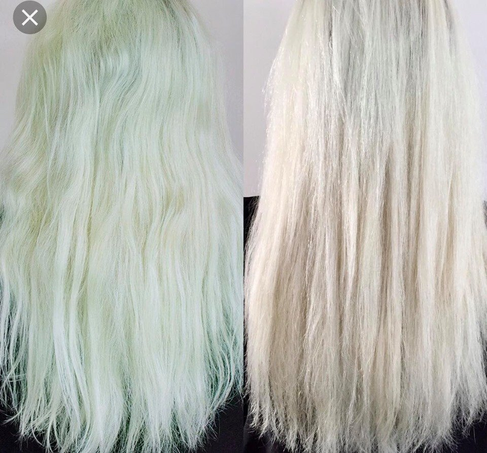 chlorine turned blonde hair green chelating treatment columbia sc