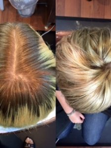 before and after color correction Heather Gore Salon